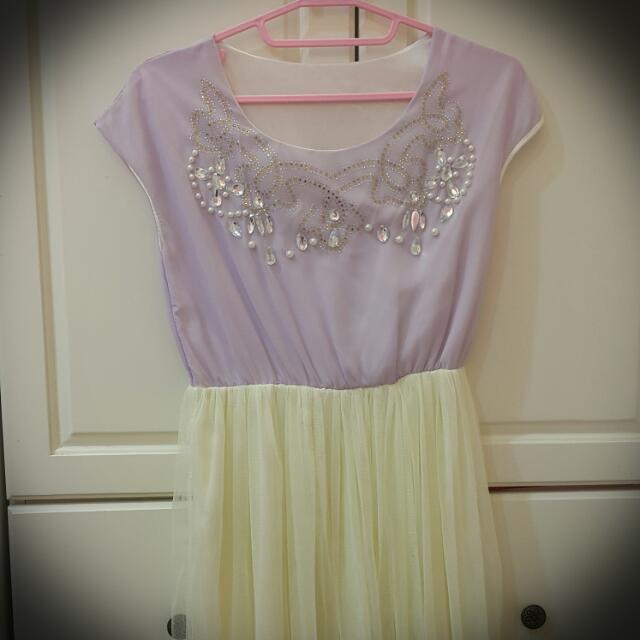 仙女紫色水鑽雪紡洋裝
