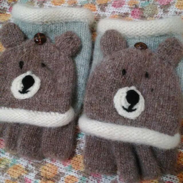 森女系小熊手套
