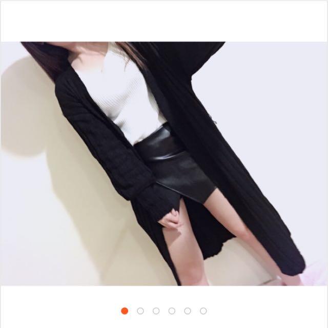 韓版顯瘦長版針織外套