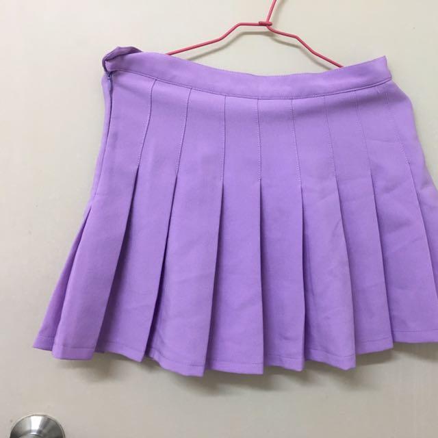 紫色百褶裙