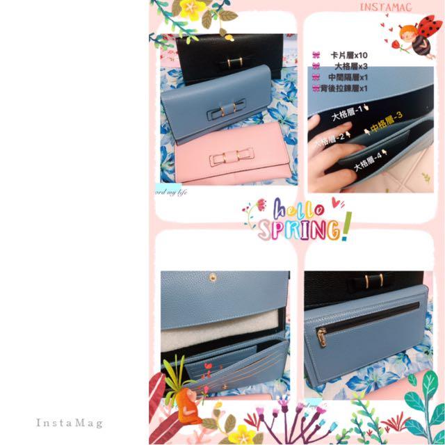 日系蝴蝶結長夾//質感荔枝紋多收納隔層皮夾 共三色1-優雅藍 2-氣質粉 3-個性黑