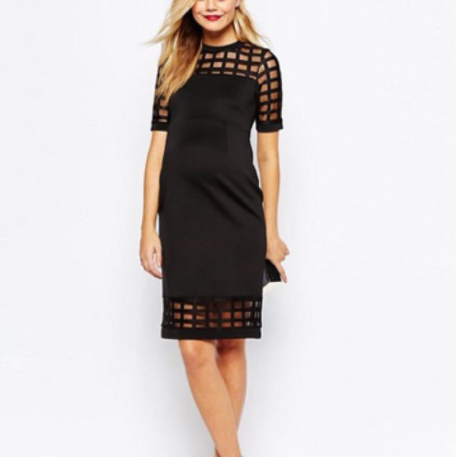 ASOS Maternity PETITE Cage Insert Bodycon Dress (black) size 8