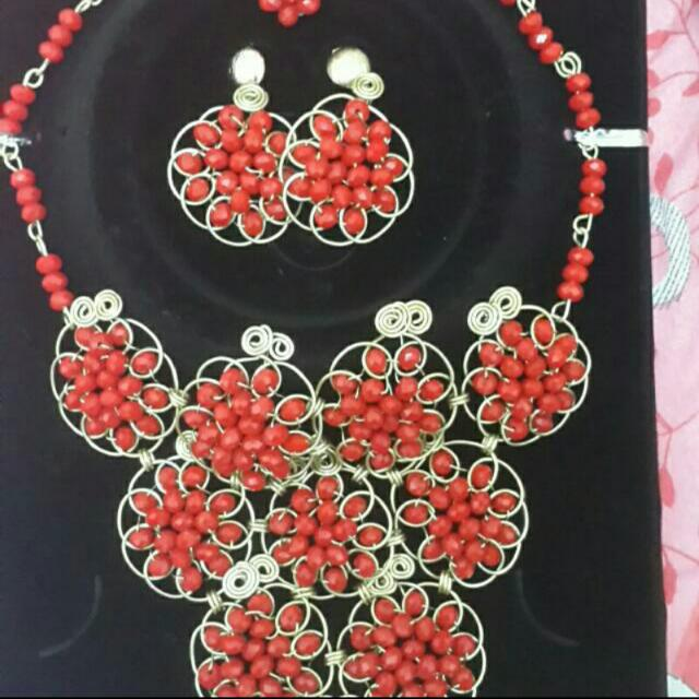 Beaded necklace with matching earrings and ring