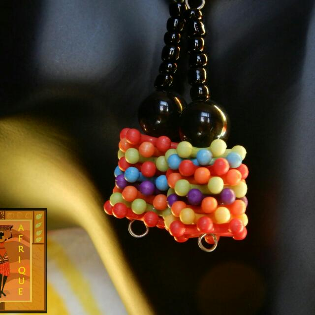 Black bead multicolor plastic lightweight earrings