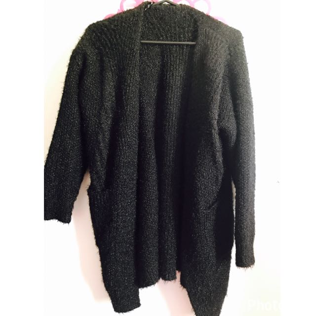 Black Furry Cardigan