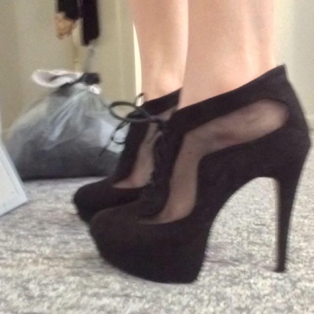Black Sheer Boot Heels