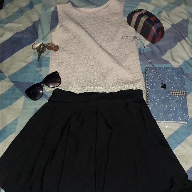 Black Skater Skirt And Crop Blouse