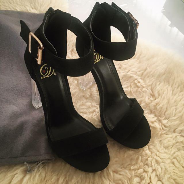 Black Stripy Sandal With Clear Heel