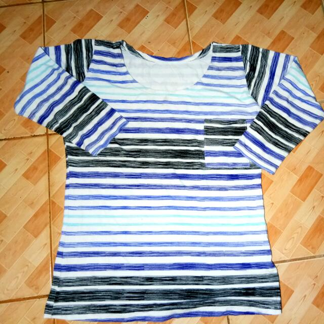 Blue And Black Striped Long Sleeve Top