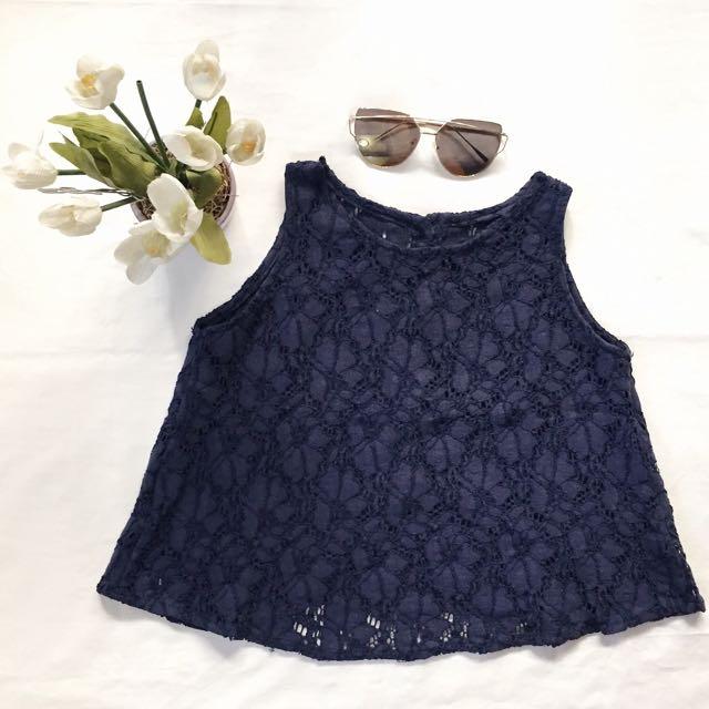 blue lace crop top ♡