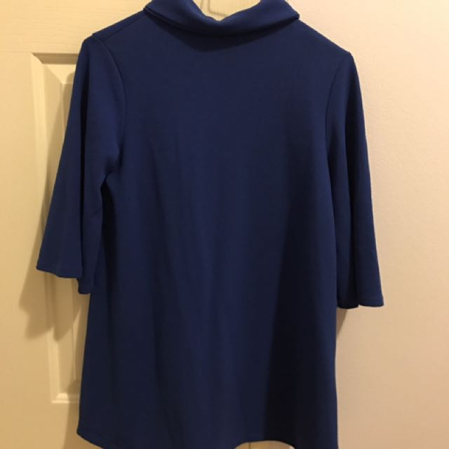 Boohoo Blue 3/4 Sleeve Long Top Size S