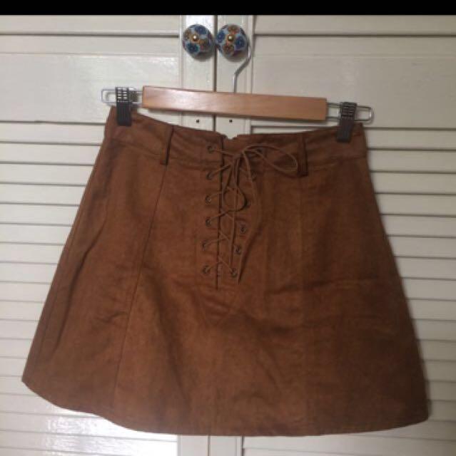 Brown Suede Festival Skirt