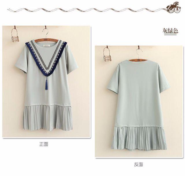 Chevron Tasseled Short-Sleeve Dress
