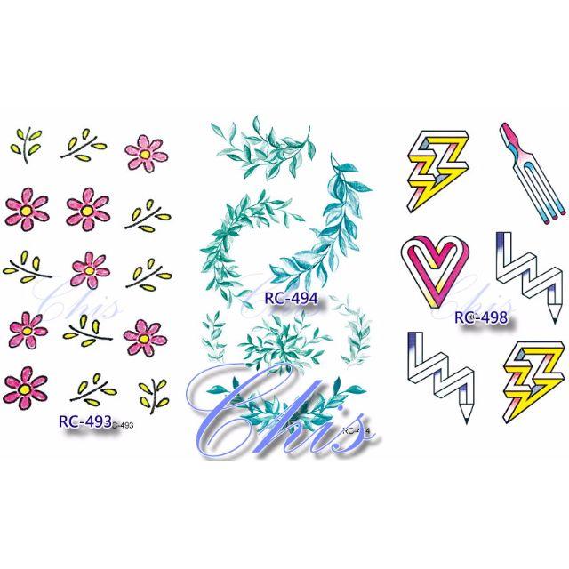 Chis Store【彩色個性刺青貼紙】韓國男女性感小清新原宿風狐狸燕子彩繪防水紋身貼紙指甲貼紙 TATTO STICKER