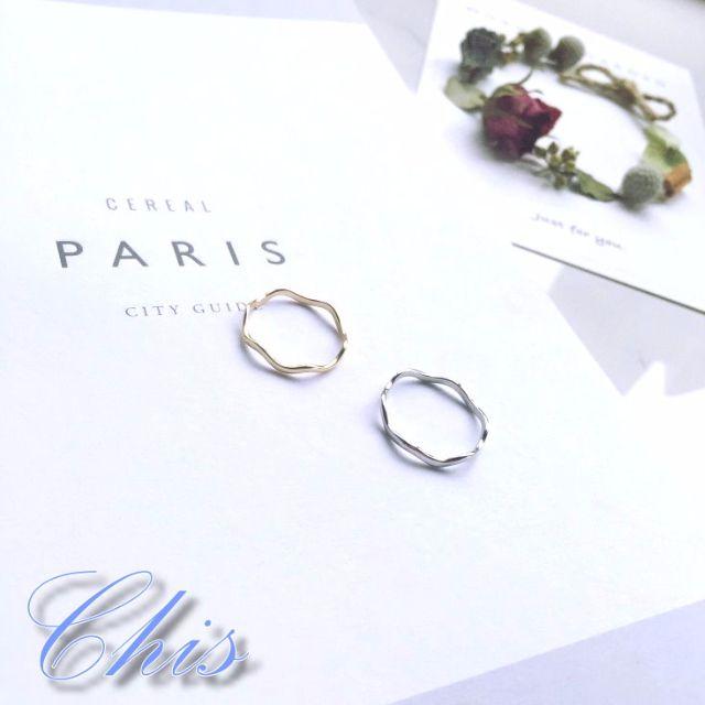 Chis Store【極簡波浪戒指】韓國歐美簡約風格海浪WAVE素雅百搭個性簡單金色銀色指環 單個販售 NDJ005