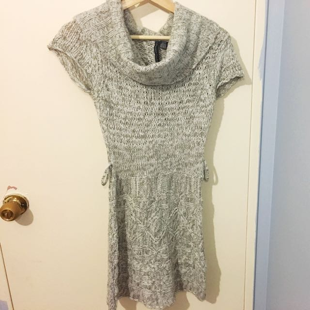 Cowl Neck Knitted Sweater Dress