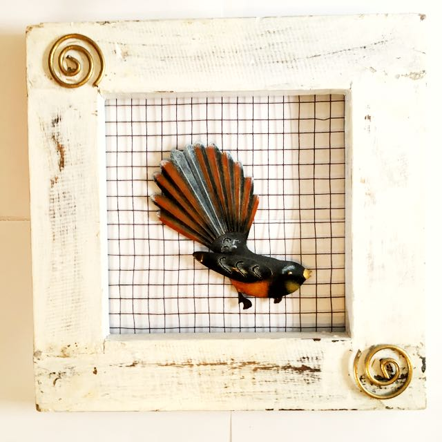Fantail On Wire Frame