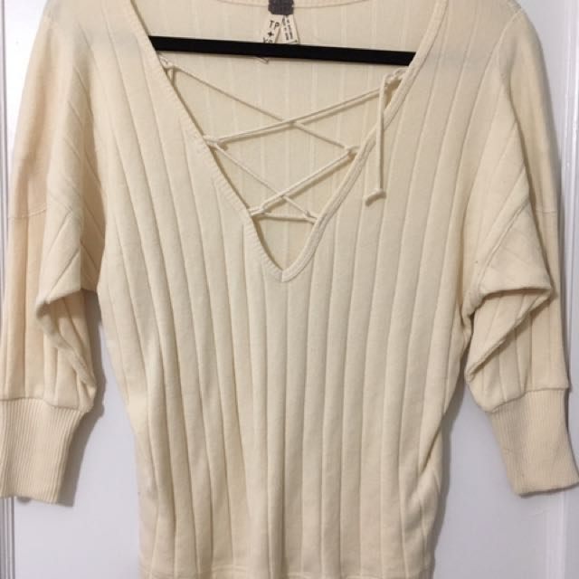 free people criss-cross front sweater