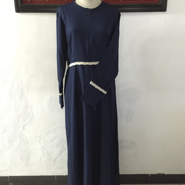 Gamis Modern/ Baju Muslim Style / Abaya Cantik Navy List Renda