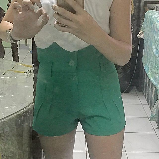 Green Higwaisted Shorts
