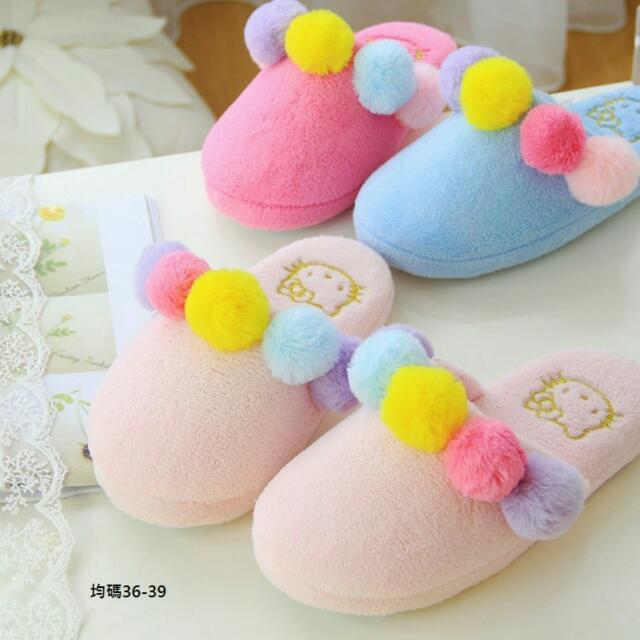 現貨:粉.玫紅✨日本三麗鷗HELLO KITTY可愛毛球*居家拖鞋/室內拖鞋