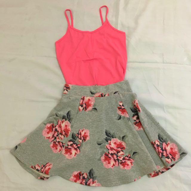 H&M Floral Skater Skirt + Pink Tank Top