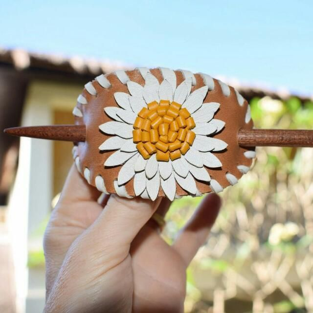 Leather Flower Barrette
