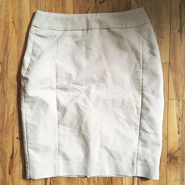 Light Beige H&M Pencil Skirt