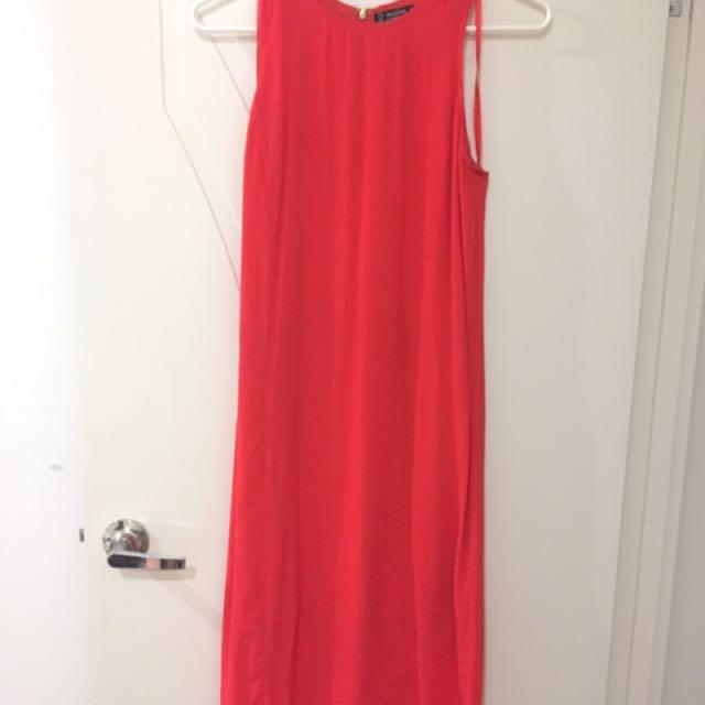 Long Calf Length Burnt Orange Dress