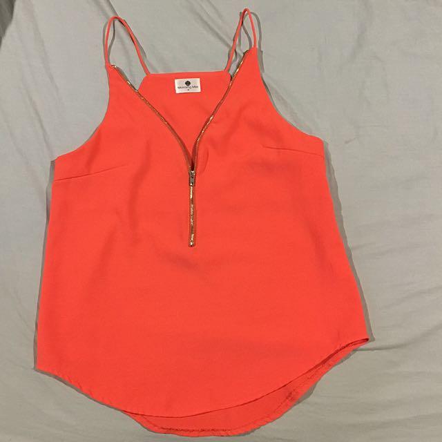 Melrose Ave Zip Orange Top Size 8