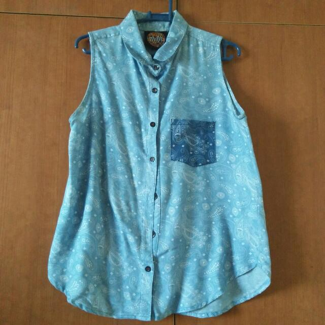 Mint Denim With Design Button Up Shirt