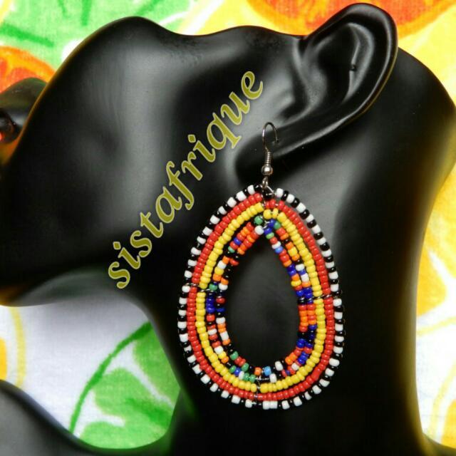 Multicolor oval shape beaded earrings/ Ethnic jewellery/ Masai bead earrings