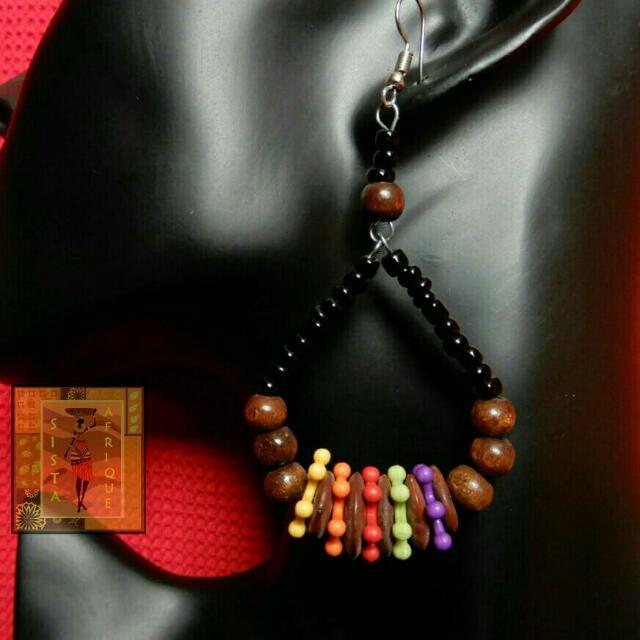 Multicolor wood and bead hollow earrings/ multicolor teardrop earrings