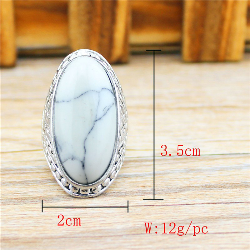 Oval Turquoise Ring Vintage Look Antique Silver Plated Jewelry + Free Shipping