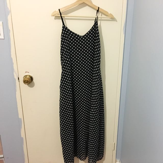 Polka Dotted Sheer Maxi Dress With Pockets