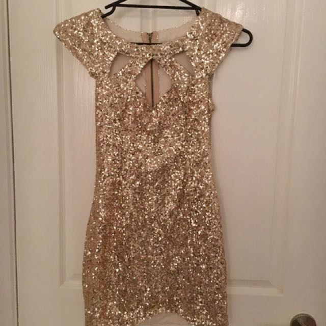Size 8 - Gold Cutout Sequin Dress