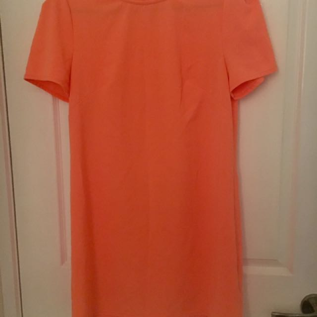 Size M - Bright Orange T-shirt Shift Dress