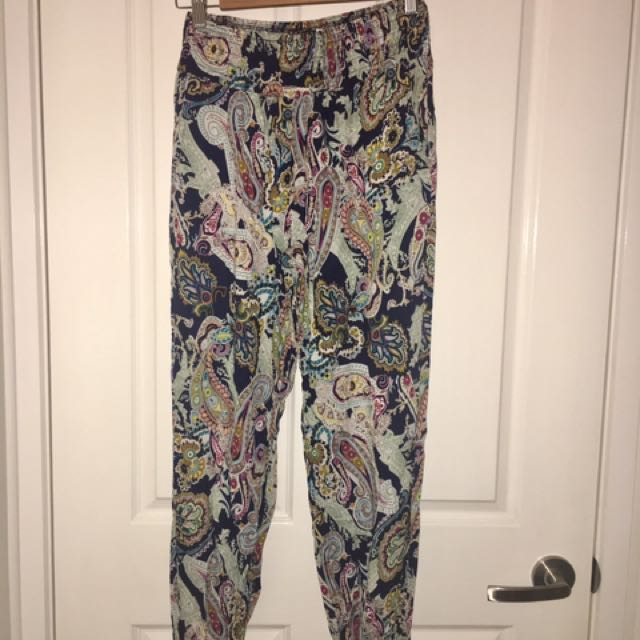 Size S - Paisley Print Patterned Boho Gypsy Pants