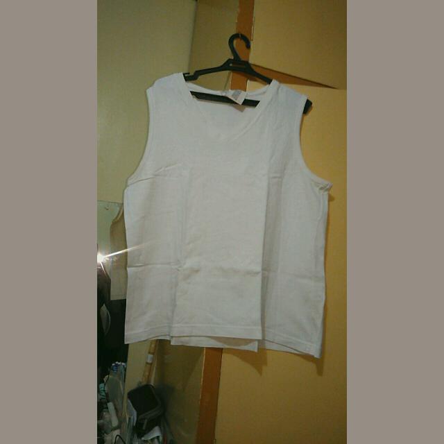 Sleeveless Plain White Top