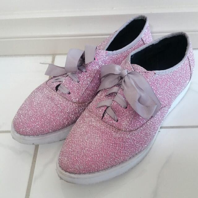 Sparkly Pink Shoes - UK 4/AUS 6