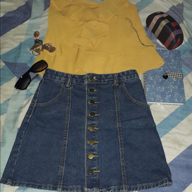 Terno Denim Skirt And Crop Blouse