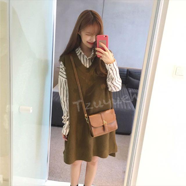 🙊秋冬氣質V領針織背心裙+條紋棉麻休閒衫 整套百搭款