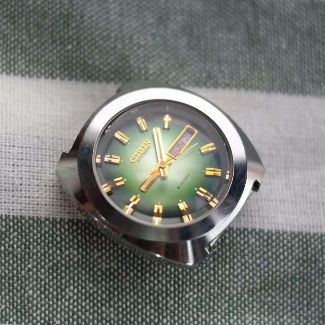 Vintage Citizen 6501 Emerald Dial Automatic Watch Not