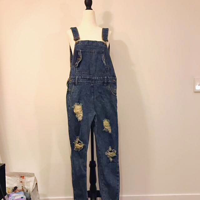 Vintage Denim Jumpsuit With Ripped Details