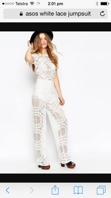 White Lace crochet Jumpsuit Asos
