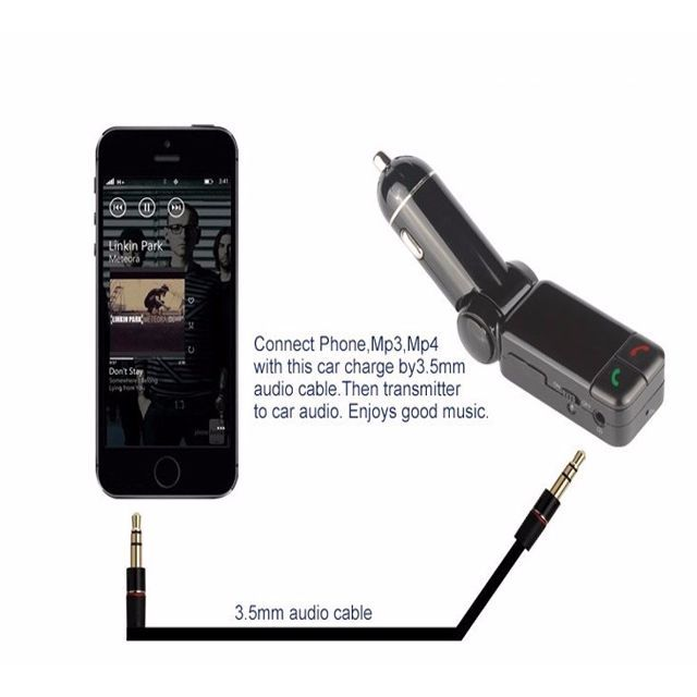 Wireless Bluetooth Car Kit Handsfree MP3 Player FM Transmitter USB Charger AUX