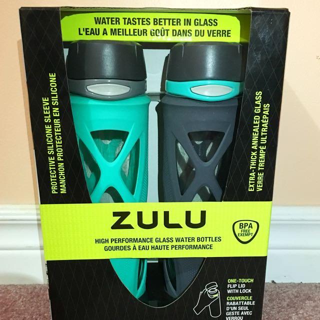 Zulu 2-pack Glass Water Bottle 20oz each