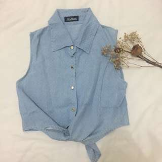 Crop Knot Chambray Top