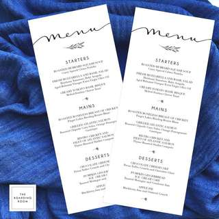 Printable Custom Wedding Menu, Wedding Stationery Template