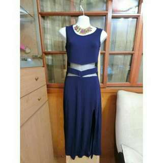 藍色開叉露腰洋裝